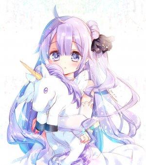 碧蓝航线,Unicorn,kamiya_maneki,长发,single,長身像,脸红,视线正对,前发,紫色眼,紫发,呆毛,可爱,少女