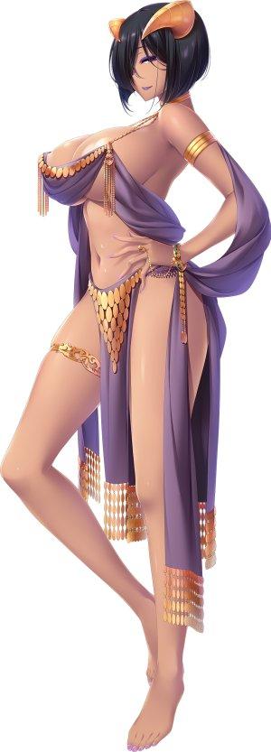choco_chip,senga_sally,atelier_kaguya,游戏CG,裸足,黑发,露胸,项圈,全身,露脐,開いた口,紫色眼,笑顔