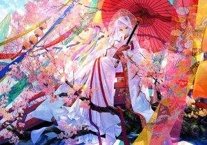 藤ちょこ,原创,樱花,和服,长发,红色眼,雨伞,婚纱,白发