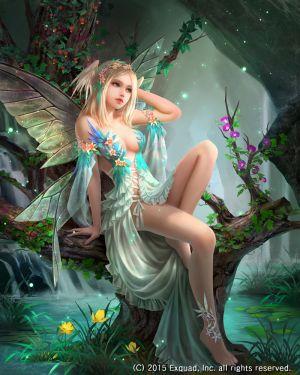 prifiore,eudia,长发,single,長身像,露胸,金发,露肩,坐姿,全身,裸足