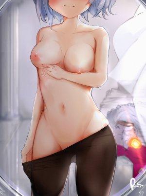 原神,诺艾尔,露胸,巨乳,nipples,黑丝,脱衣,白发