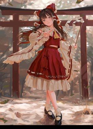 东方Project,博麗霊夢,fkey,长发,single,長身像,脸红,视线正对,前发,茶发,棕色眼,holding,全身,传统服装,和服
