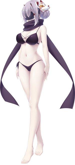 choco_chip,shirakomachi_akane,atelier_kaguya,游戏CG,裸足,水着,脸红,露胸,全身,长发,仮面,红色眼,银发,笑顔,single,泳装