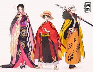 海贼王,路飞,全身,和服,长发,剑,传统服装,weapon