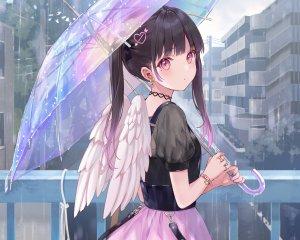 フカヒレ,原创,黑发,项圈,rain,短裙,双马尾,雨伞,翅膀,cropped,waifu2x