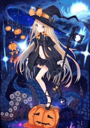 sakura_nnk,阿比盖尔·威廉姆斯,fate/grand_order,创可贴,万圣节,胖次,黑丝,魔女