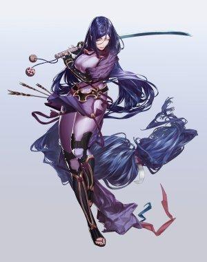 源頼光,Fate/GrandOrder,Fate系列,gecl4,前发,Bodysuit,露胸,手套,holding,巨乳,长发,紫色眼,紫发,剑,weapon
