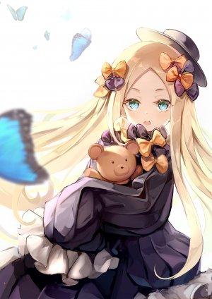 Fate系列,Fate/Grand_Order,阿比盖尔·威廉姆斯,hon,长发,single,長身像,视线正对,開いた口,碧眼,金发,白背景,少女,连衣裙,长袖