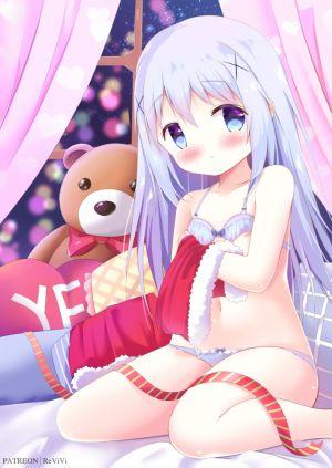 香風智乃,请问您今天要来点兔子吗?,re-vivi,前发,裸足,露肩,碧眼,青发,脸红,bra,圣诞节,发饰,长发,视线正对,露脐,胖次,坐姿,single,泰迪熊,下着