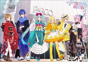 hakusai,初音ミク,鏡音レン,鏡音リン,KAITO,巡音ルカ,MEIKO,VOCALOID,手套,和服