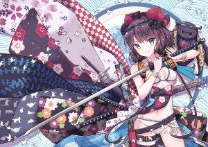 profnote,葛飾北斎,とと様,Fate系列,Fate/GrandOrder,水着,紫发,泳装,剑,双马尾,weapon