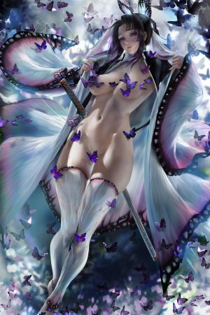 sakimichan,胡蝶しのぶ,鬼灭之刃,areola,露胸,censored,和服,No-Bra,猫咪,剑,黑丝,脱衣,制服