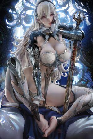 sakimichan,火焰之纹章,fire_emblem_if,装甲,bra,胖次,尖耳,剑,黑丝
