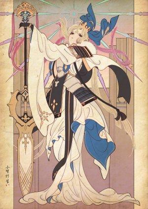 阿尔托莉雅·潘德拉贡,アルトリア・キャスター,Fate/GrandOrder,Fate系列,オノ・タコ,呆毛,装甲,金发,皇冠,手套,长发,长袖,single,超长发