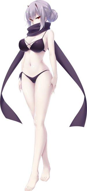 choco_chip,shirakomachi_akane,atelier_kaguya,游戏CG,裸足,水着,脸红,露胸,全身,长发,红色眼,银发,笑顔,single,泳装